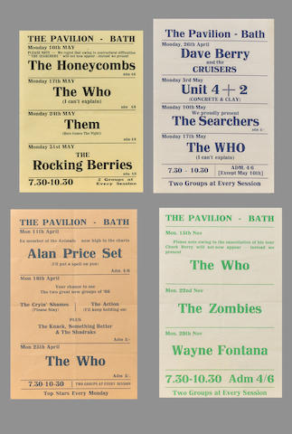A collection of concert handbills for The Pavilion and Regency Ballroom, Bath, 1960s,