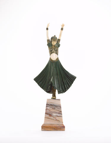 Demetre Chiparus  'Hindu Dancer' a Cold-Painted Bronze and Carved Ivory Figure, circa 1925