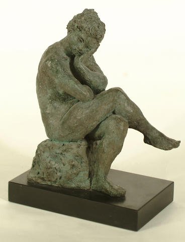 Karin Jonzen (British, 1914-1998) Pondering Girl 35cm (13 3/4in)(height, including base)