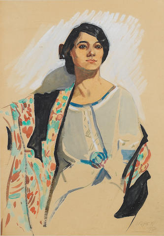 Manner of Sir William Orpen R.A., H.R.H.A. The Shawl, watercolour, 46 x 31cm.