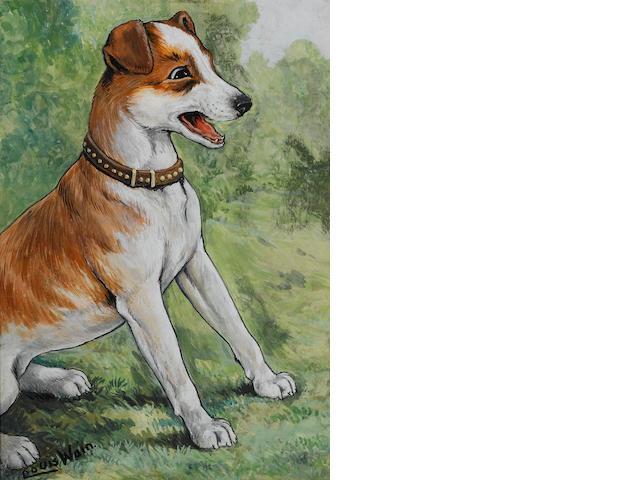 Louis Wain (British, 1860-1939) An eagar terrier