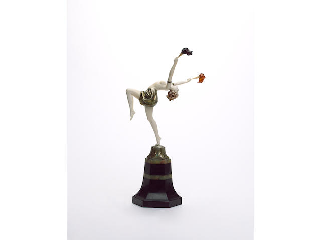 Ferdinand Preiss 'Torch Dancer' a Cold-Painted Bronze and Carved Ivory Figure, circa 1925