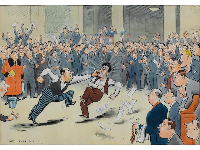 Henry Mayo Bateman (British, 1887-1970) Underwriter dealing with broker who has stolen the best account