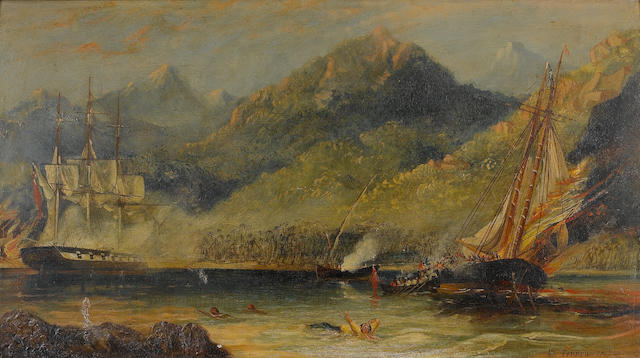 Isaac Walter Jenner (British, 1836-1902) A British naval frigate engaging a pirate vessel in Caribbe