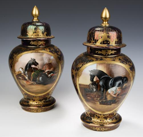 """""""Shoeing a bay horse"""" and """"War"""" A pair of Dresden vases and covers"""
