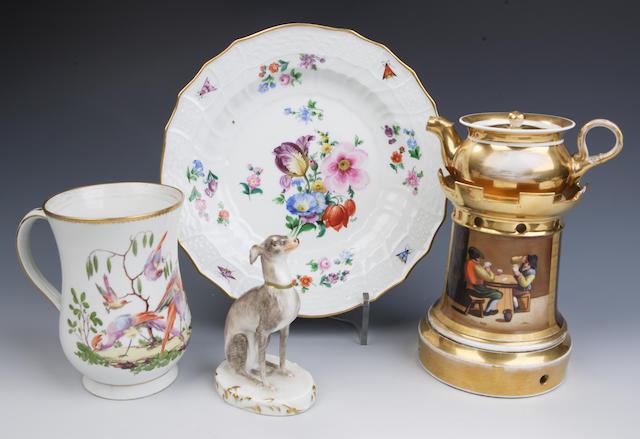Continental porcelain tea warmer 19th century