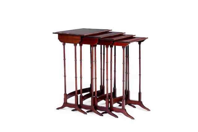 A Regency style mahogany quartetto nest of tables