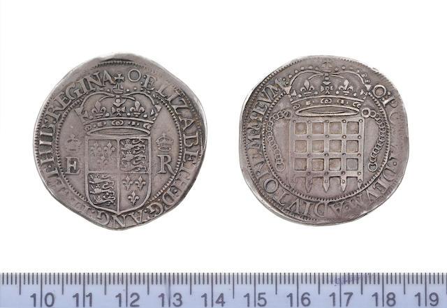 Elizabeth I, portcullis money (trade coin), Eight testerns, Portcullis Dollar), 27.2g, 1600, m.m. O, royal arms on the obverse,