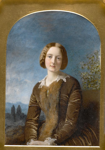 (n/a) Robert Thorburn, ARA HRSA (British, 1818-1885) Clementina Booda, in a landscape, wearing brown velvet dress with fur trim, pendant jewel and white lace collar and cuffs