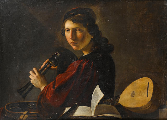 Pietro Paolini, called il Lucchese (Lucca 1603-1681) A young man holding bagpipes 73 x 97.5 cm. (28¾