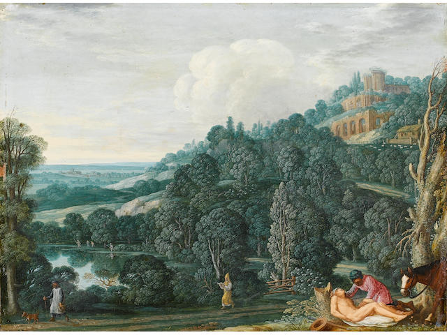 Johann König (circa 1586-1642) An extensive landscape with The Good Samaritan 28 x 38 cm. (11 x 15 i