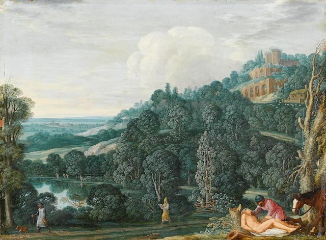 Johann König (circa 1586-1642) An extensive landscape with The Good Samaritan 28 x 38 cm. (11 x 15 i