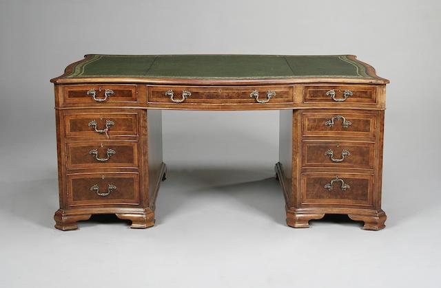 A Georgian style walnut partner's desk