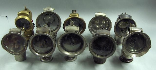 A selection of assorted acetylene cycle lamps,