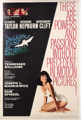 Two US one-sheet posters, Suddenly, Last Summer, Columbia Pictures, 1959 and Walk on the Wild Side,