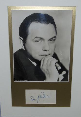 An Edward G. Robinson autograph, the mounted signature inscribed on an album page.