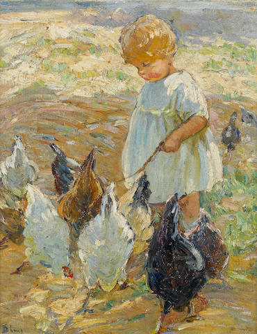 Dorothea Sharp (British, 1874-1955) Girl with Chickens 51 x 41 cm. (20 x 16 1/8 in.)