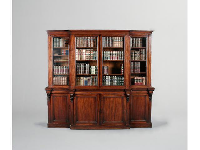 A mid Victorian mahogany breakfront Library bookcase