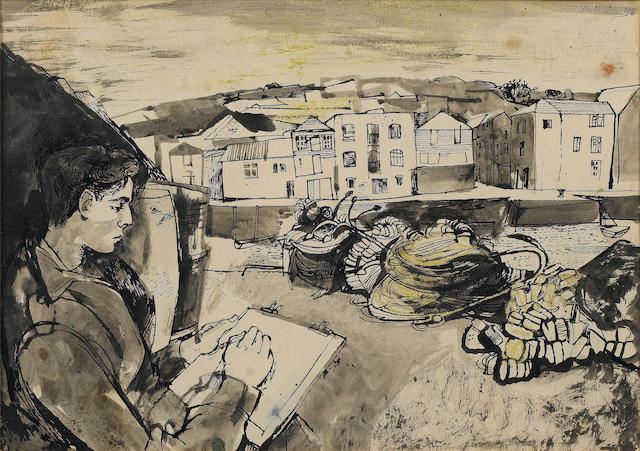 John Minton (British, 1917-1957) Sketching in Cornwall 26.5 x 38 cm. (10 1/2 x 14 7/8 in.)