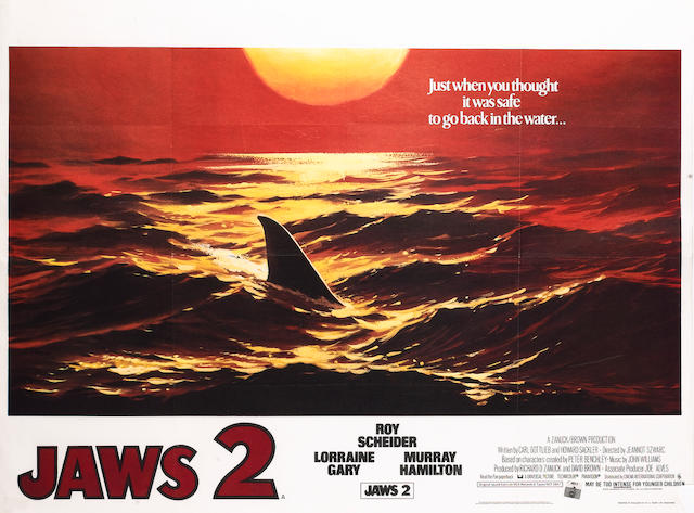 Jaws and Jaws II UK Quad posters, Universal Pictures, 1975 and 1978,