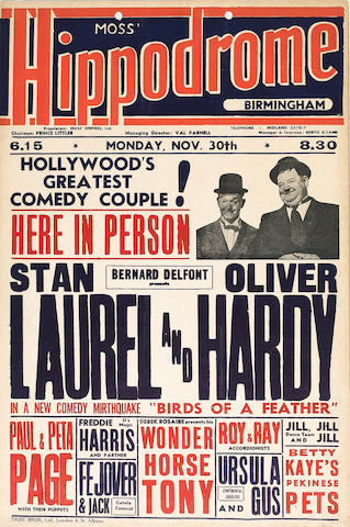 A Laurel and Hardy UK Tour Theatre Box Office card, from the Moss Hippodrome Theatre, Birmingham,