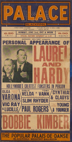 A Laurel and Hardy UK Tour Theatre Box Office card, from The Palace Theatre, Blackpool,