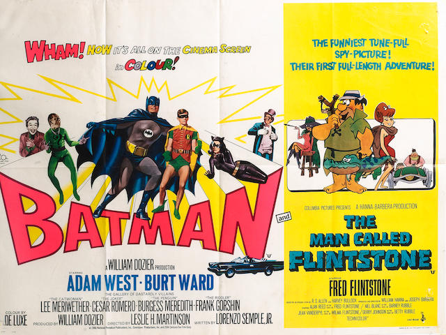 Batman and The Man Called Flinstone, ABC cinema double-bill UK Quad poster, 20th Century Fox and Col
