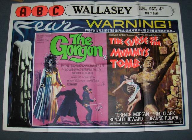 A collection of seven Hammer Horror double-bill UK Quad posters, including: