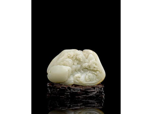 A very fine white jade boulder Jiaqing