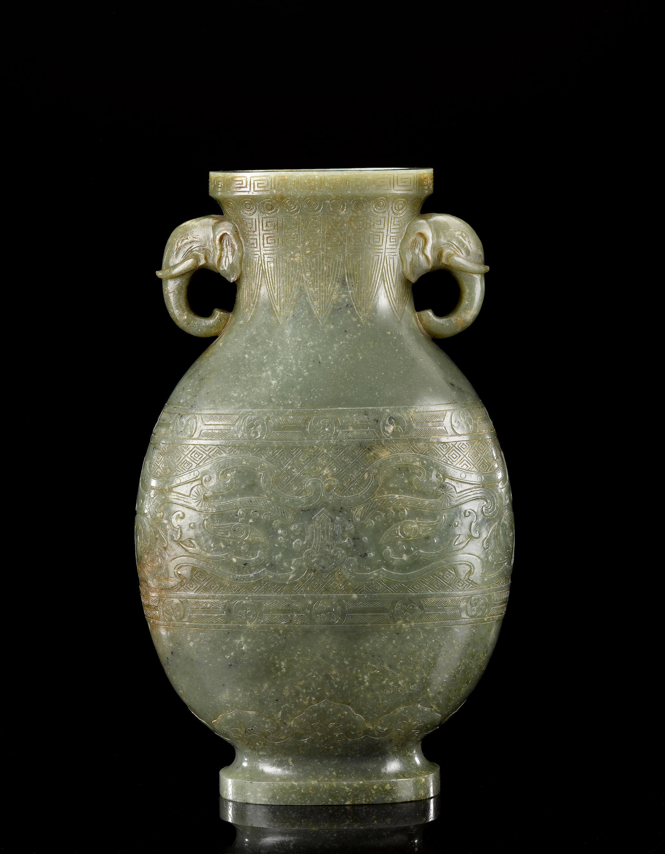 A rare large spinach-green jade archaistic vase