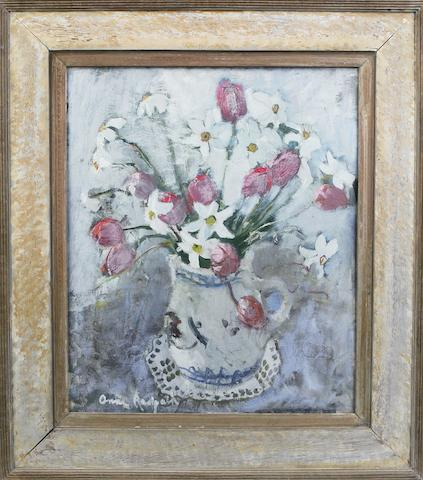 Anne Redpath, OBE RSA ARA LLD ARWS ROI RBA (British, 1895-1965) 'Tulips and lilies' (In artist's original decorated frame)