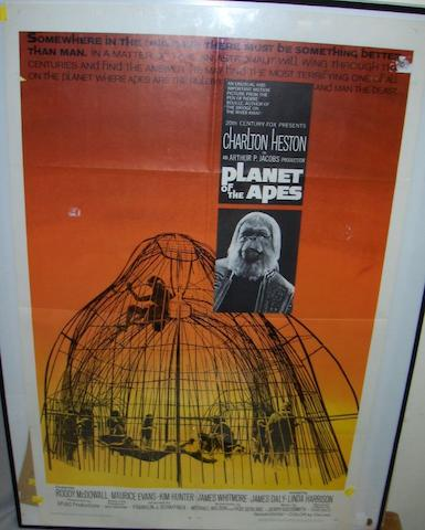 Two Planet of The Apes related film posters,   one being Planet Of The Apes, 20th Century Fox, 1968,