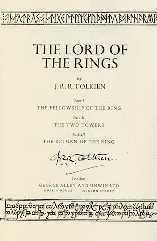 TOLKIEN (JOHN RONALD REUEL) The Lord of the Rings, SIGNED BY THE AUTHOR ON TITLE