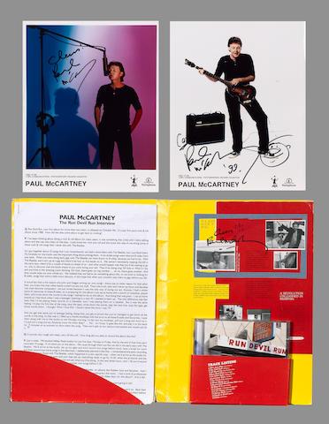 An autographed press pack for Paul McCartney's album 'Run Devil Run', 1999,
