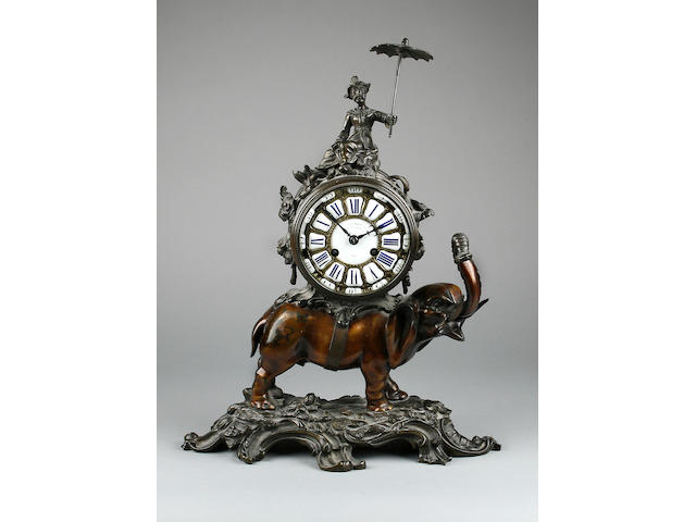 A good late 19th Century Louis XV style bronze elephant clock Howell James & Co, Paris