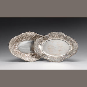 A late Victorian silver fruit dish, by Finley & Taylor, London 1891, another oval fruit dish, two sw