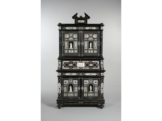 A late 19th century Italian ebonised and bone inlaid bureau cabinet
