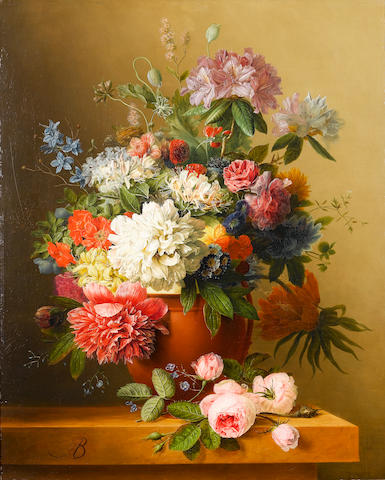 Arnoldus Bloemers (Dutch, 1792-1844) A still life of peonies, roses, honeysuckle, poppies, a crown imperial, rhododendrons and other flowers in a terracotta urn on a ledge 76 x 61 cm. (30 x 24 in.)