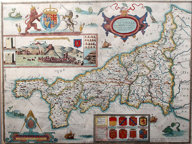 After Saxton (corrected by P Lea) a hand coloured map of Cornwall with view of Launceston Castle, circa 1720, 38 x 49cm See colour illustration inside cover and detail front cover
