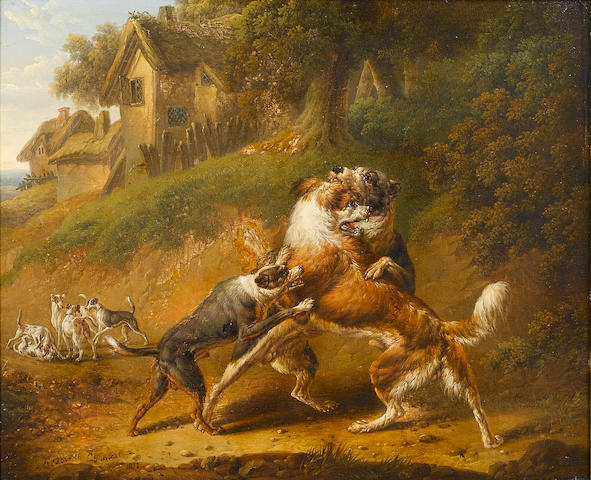 Charles Towne (British, 1763-1840) Dogs fighting 22 x 26.5 cm. (8 3/4 x 10 1/2 in.)