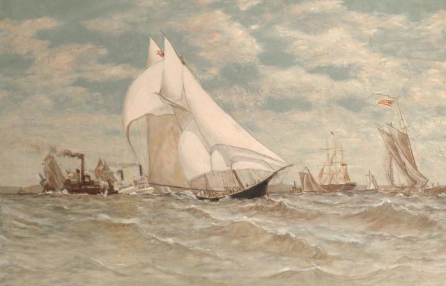 Circle of Antonio Nicolo Gasparo Jacobsen (American, 1850-1921) A regatta off Sandy Hook 50.8 x 76.2cm (20 x 30in)