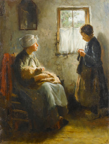 Bernard de Hoog (Dutch, 1867-1943) The knitting lesson 66 x 51 cm. (26 x 20 in.)