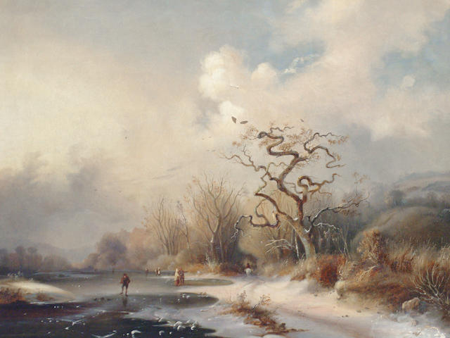 Follower of Frederik Marinus Kruseman (Dutch, 1816-1882) Winter landscape with figures on a frozen river