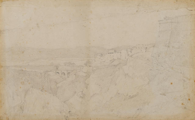 Attributed to Corot, landscape verso and recto, pencil, estate stamp 267x426mm