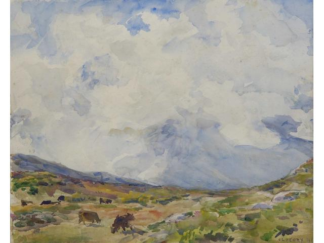 James Levin Henry (British, born 1855) Cattle under blustery skies, 34 x 42cm.