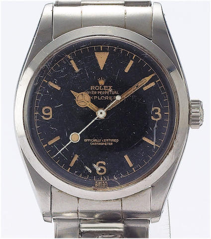 Rolex. A fine stainless steel automatic centre seconds wristwatchExplorer, Ref:6610 circa 1957