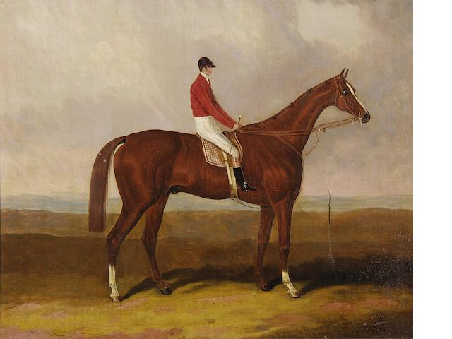 Circle of Henry Barraud (British, 1811-1874) A chestnut racehorse with jockey up, on a heath