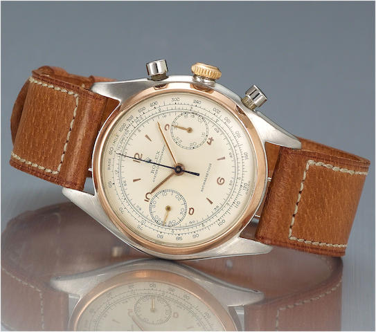 Rolex. A fine and rare stainless steel and pink gold chronograph wristwatch  Monoblocco, Anti-Magnetic, Ref:4500, circa 1947