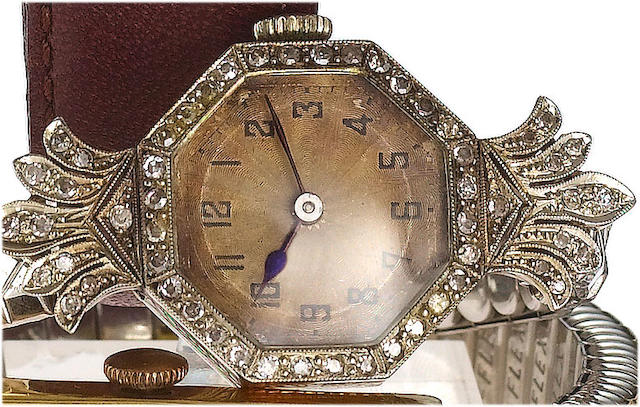 Rolex. A fine 18ct white gold and diamond set ladies cocktail watch Glasgow Import mark for 1926