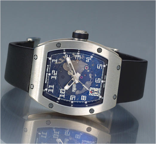Richard Mille. A fine and rare 18ct white gold automatic calendar wristwatchRM005, No.035, Sold September 2004